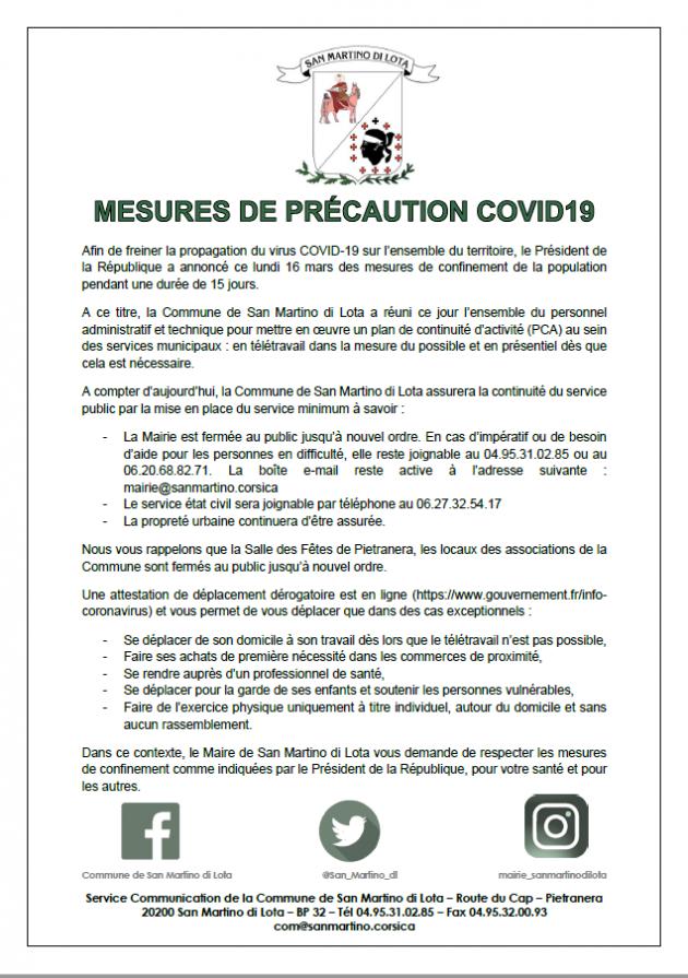 MESURES DE PRECAUTION COVID 19